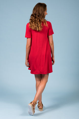 Montauk Swing Dress in Ruby