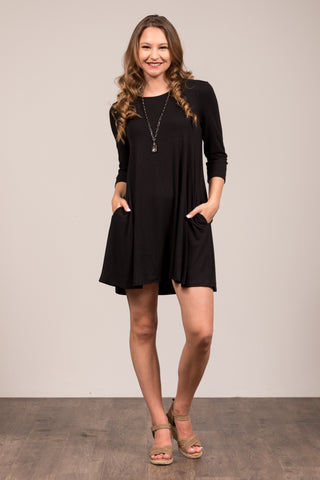 Soho Square Dress 3/4 sleeves in Black