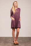 Soho Square Dress 3/4 sleeves in Eggplant