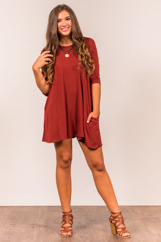 Soho Square Dress 3/4 sleeves in Fire Brick