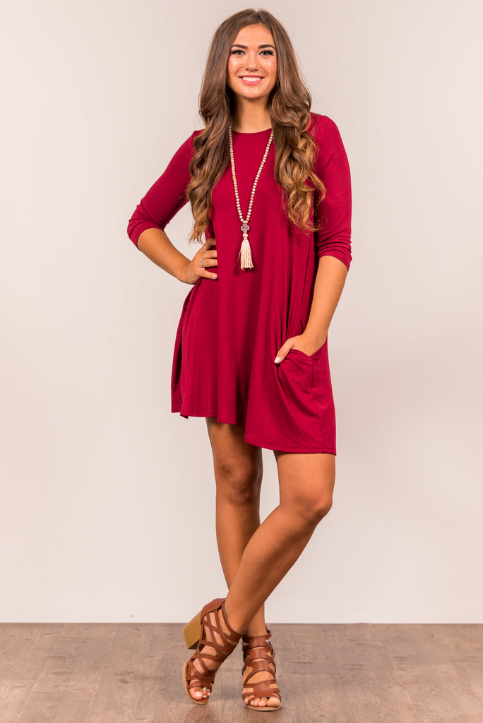 Soho Square Dress 3/4 sleeves in Cabernet