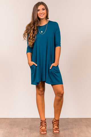 Soho Square Dress 3/4 sleeves in Teal