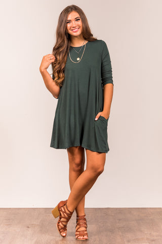 Soho Square Dress 3/4 sleeves in Hunter Green