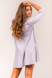 Soho Square Dress 3/4 sleeves in Heather Grey