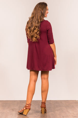 Soho Square Dress 3/4 sleeves in Dark Burgundy