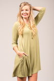 Soho Square Dress 3/4 sleeves in Sage
