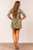 Soho Square Dress 3/4 sleeves in Light Olive