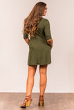 Soho Square Dress 3/4 sleeves in Army Green