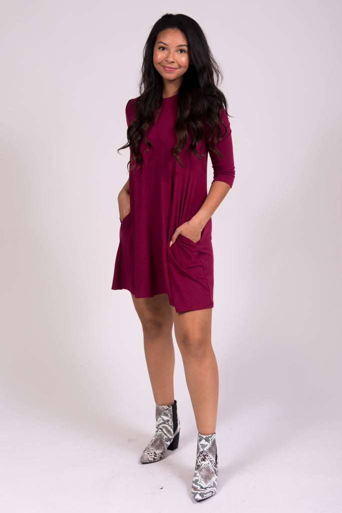 Soho Square Dress 3/4 Sleeves in Wine