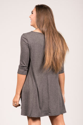 Soho Square Dress 3/4 sleeves in Charcoal