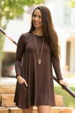 Tarrytown Dress Long Sleeves in Americano