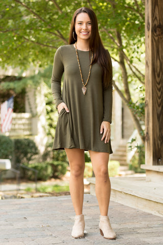 Tarrytown Dress Long Sleeves in Dark Olive