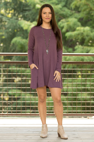 Tarrytown Dress Long Sleeves in Eggplant
