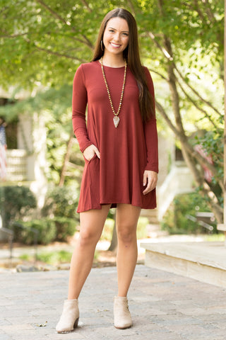 Tarrytown Dress Long Sleeves in Fired Brick