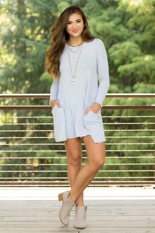 Tarrytown Dress Long Sleeves in Heather Grey