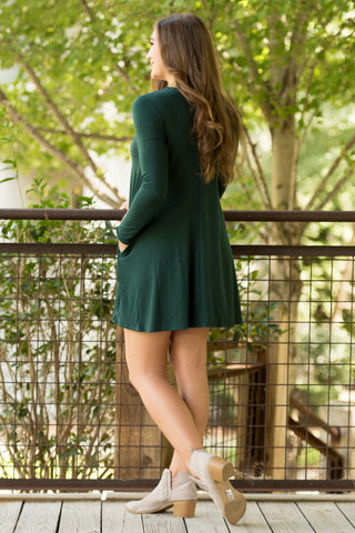 Tarrytown Dress Long Sleeves in Hunter Green