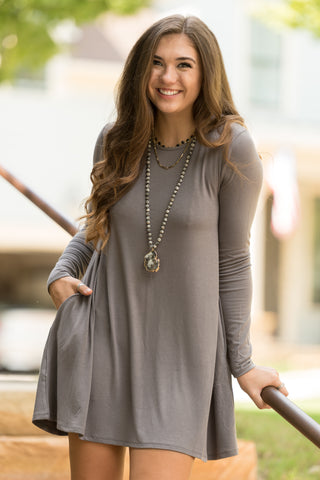 Tarrytown Dress Long Sleeves in Mid Grey