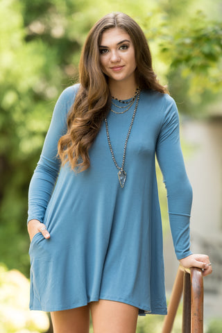 Tarrytown Dress Long Sleeves in Titanium