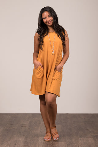 Bondi Swing Dress in Ash Mustard