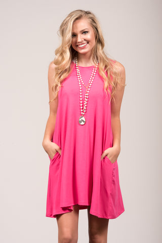 Bondi Swing Dress in Fuchsia