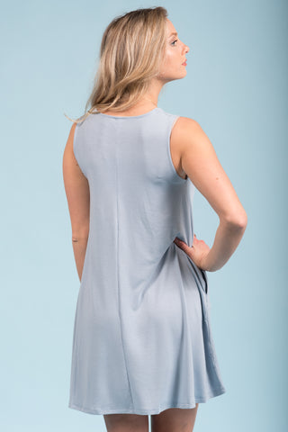 Bondi Swing Dress in Ash Blue
