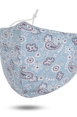 Face Mask - Blue Paisley