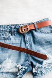 Don't Quit Belt in Cognac/Gold