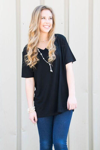 Piko Short Sleeve in Black (V-Neck)