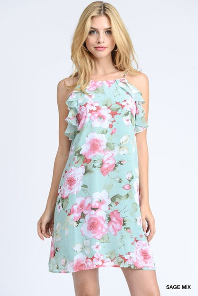 ac90c5deb301 This sage halter dress with ruffle detail is brought to you jodifl this  feminine jpg 401x600