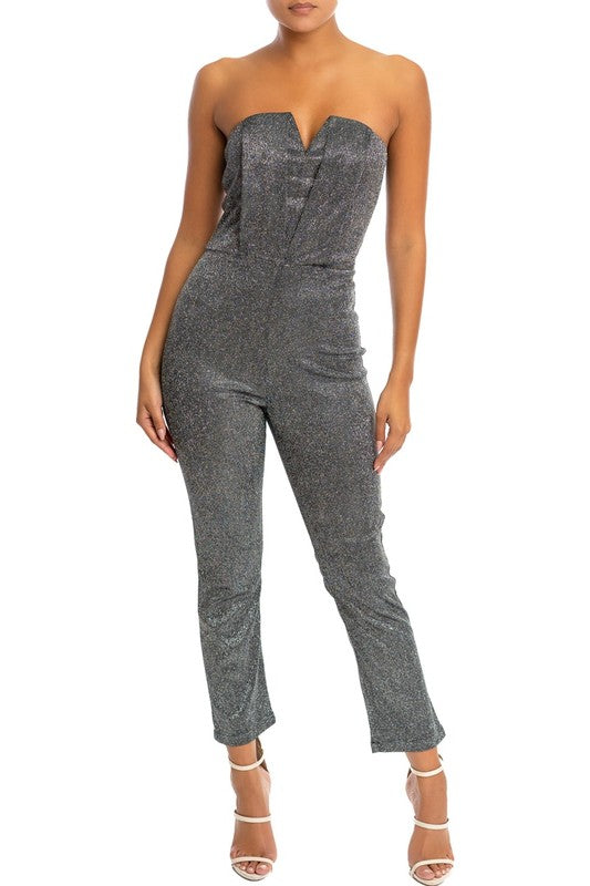 front view of strapless metallic jumpsuit