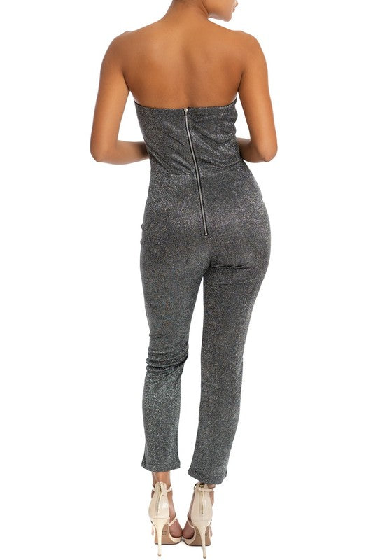 back view of strapless metallic jumpsuit