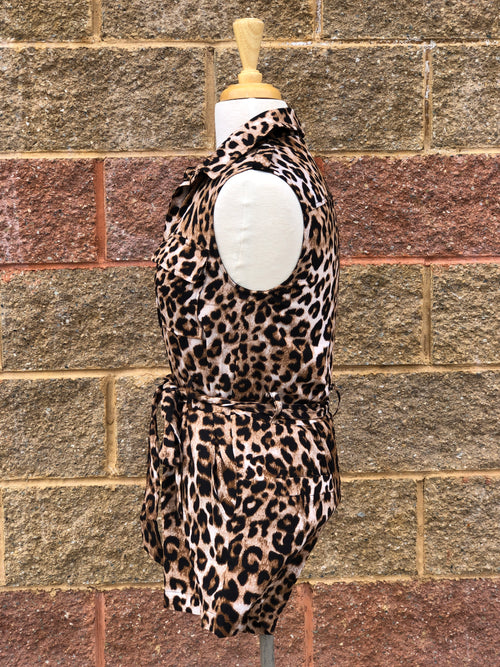 side view of leopard print romper