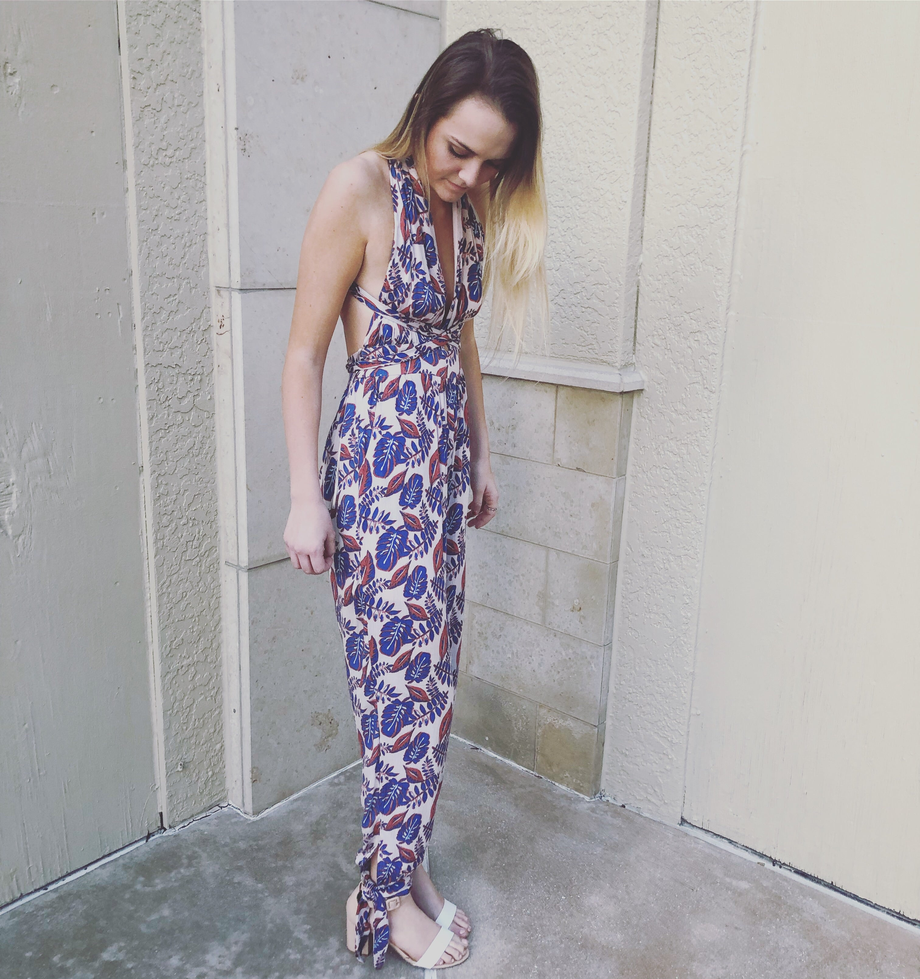 full length view of tropical leaf jumpsuit