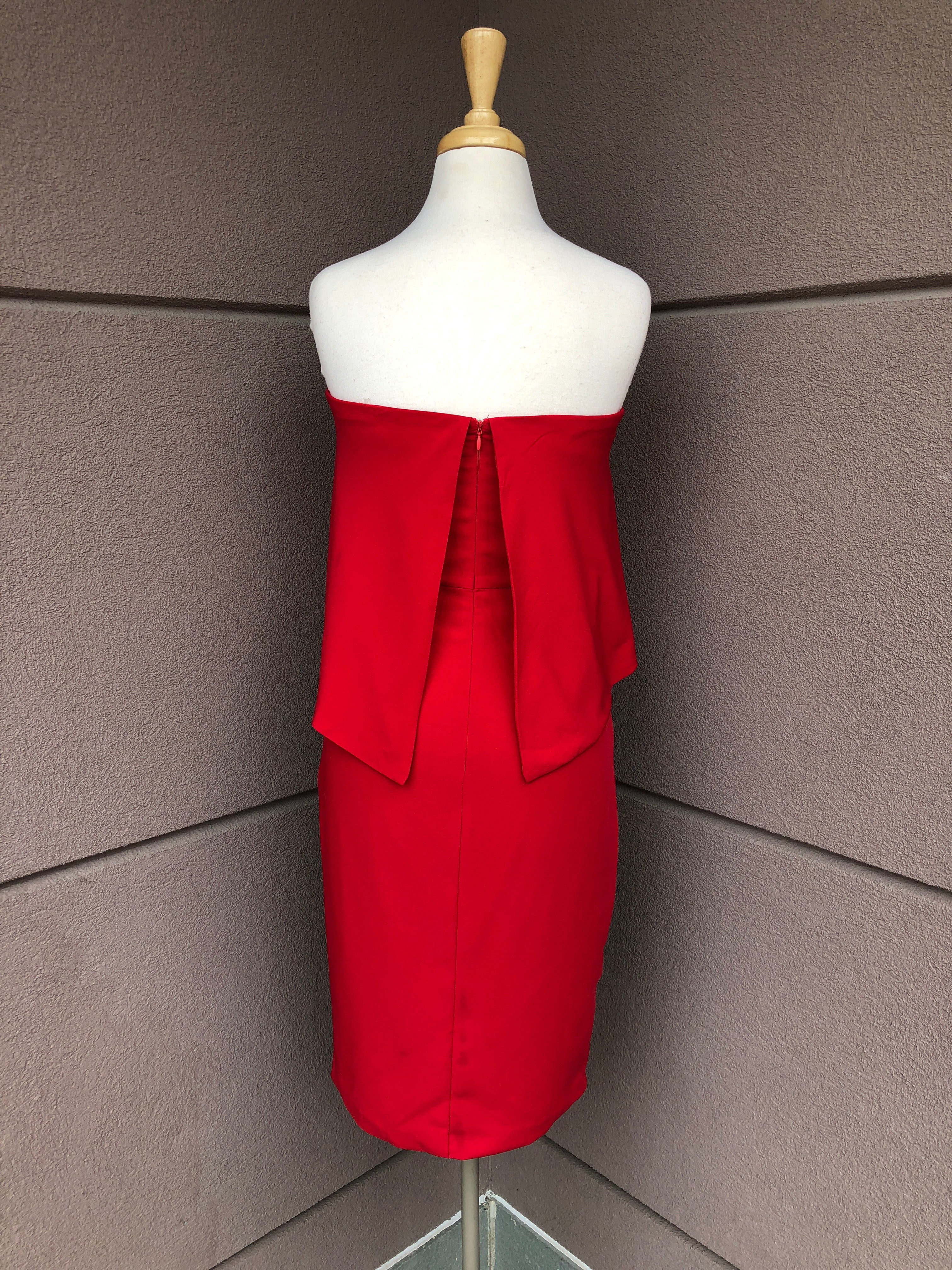 back view of red midi dress