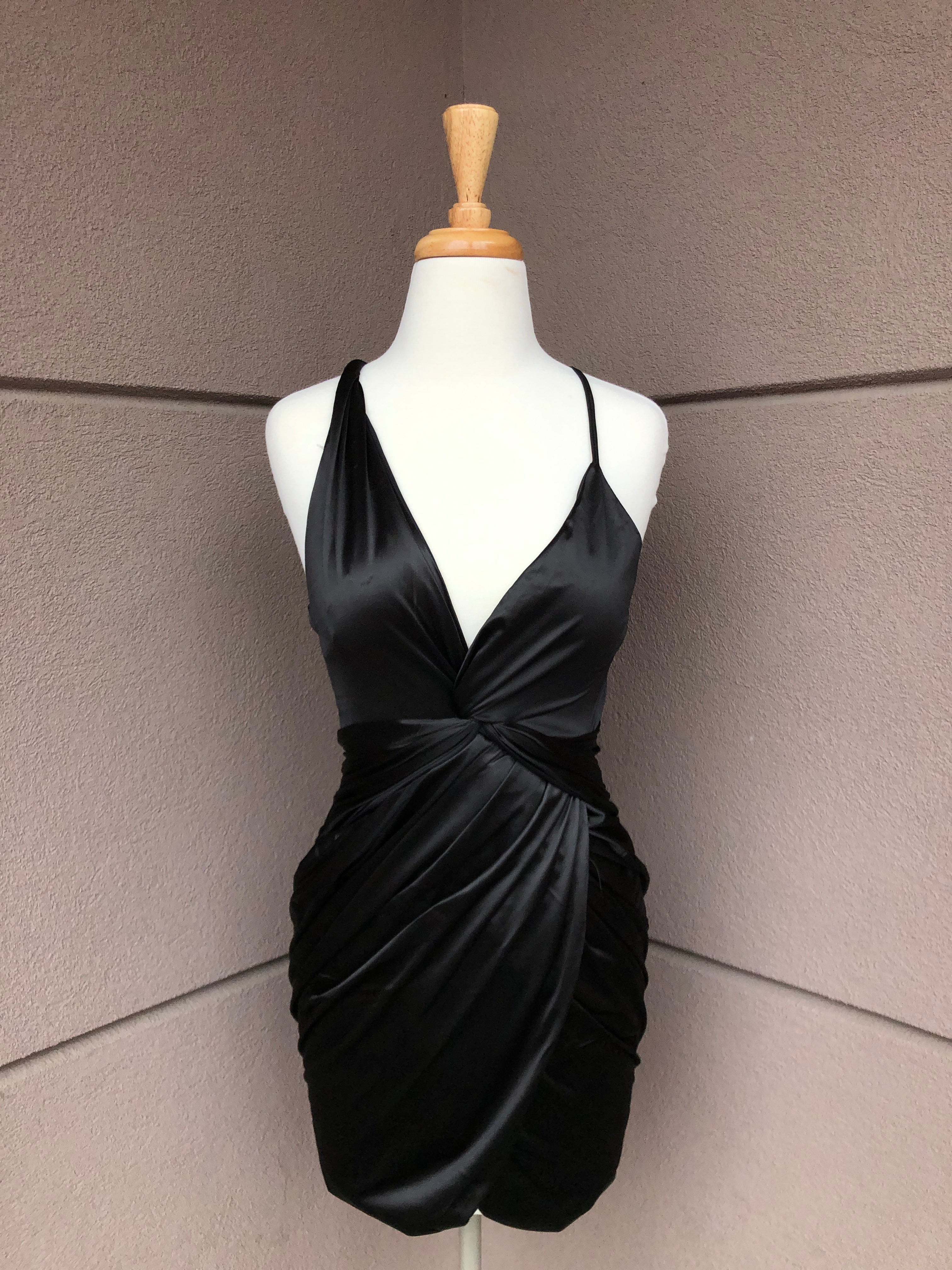 front view of twisted little black dress