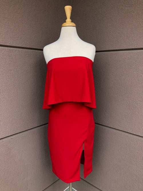 front view of red midi dress