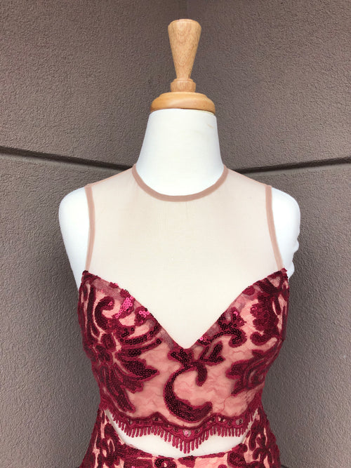close up view of merlot sequin dress