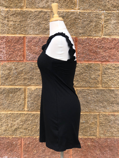 side view of black dress