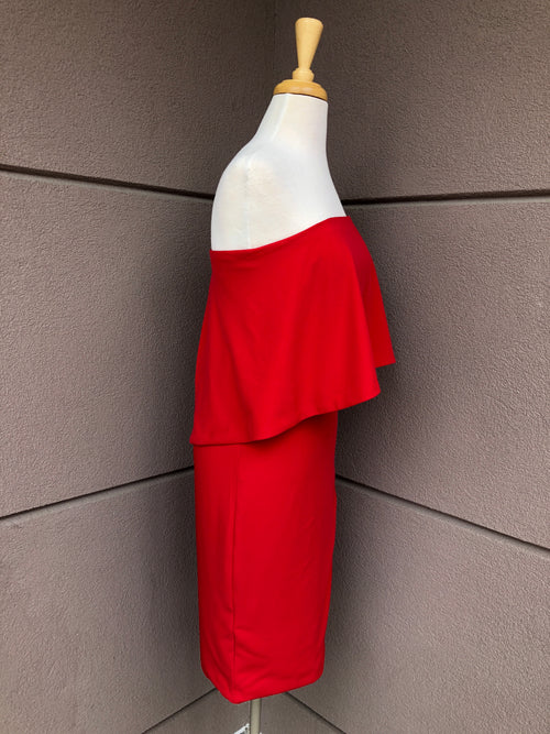 side view of red midi dress