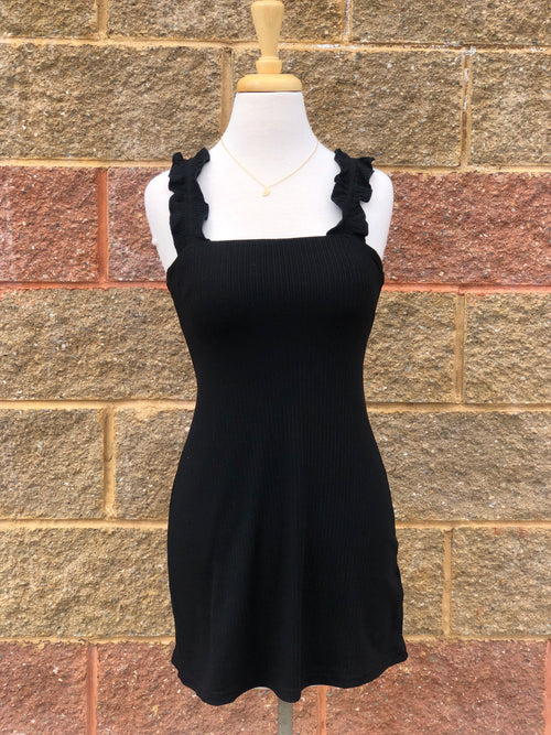 front view of black dress