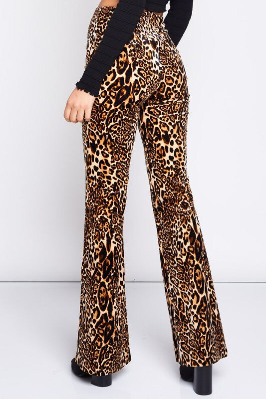back view of leopard pants