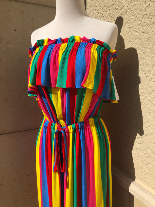 close up view of carnival cutie culotte jumpsuit