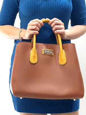 Mitzify Midi Tote in Red Brown.