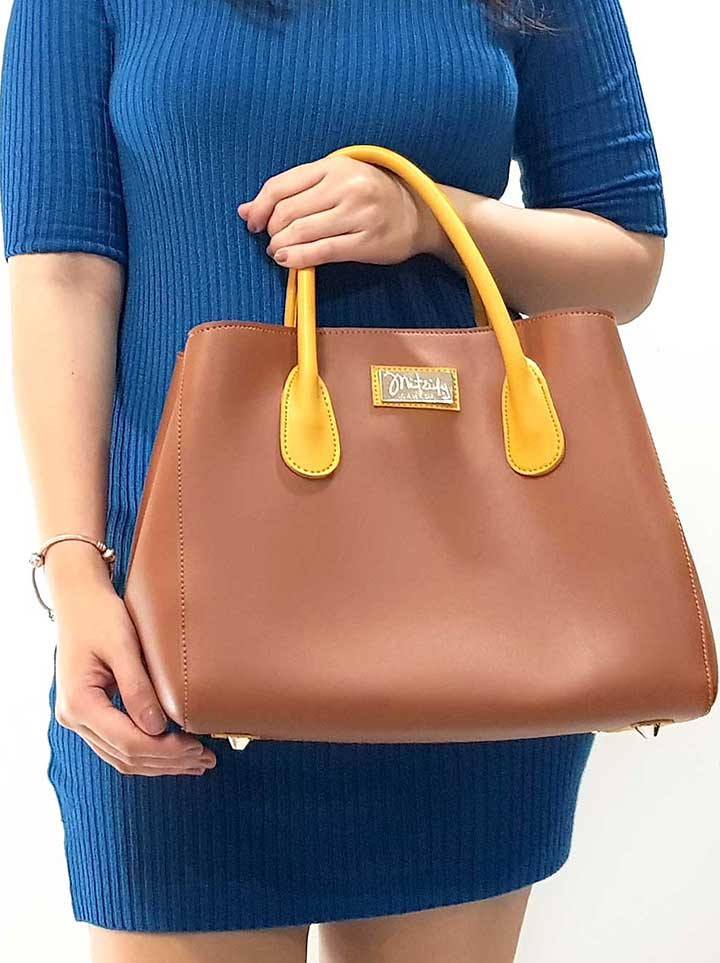 Mitzify Midi Tote in Red Brown