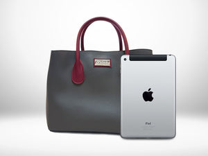 Mitzify Midi Tote in Gray - The only handbag with bottle holder inside.