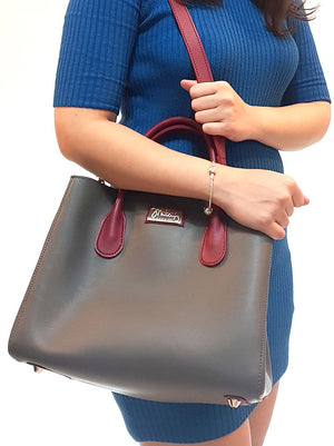 Mitzify Midi Tote in Gray - The only handbag with bottle holder inside
