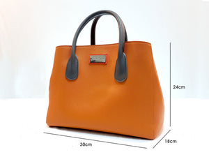 Mitzify Midi Tote in Orange - The Only Handbag With Bottle Holder Inside.