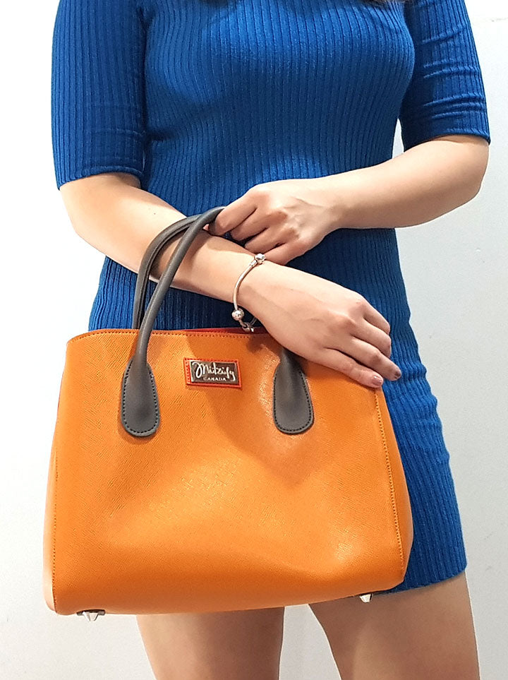 Mitzify Midi Tote in Orange - The Only Handbag With Bottle Holder Inside