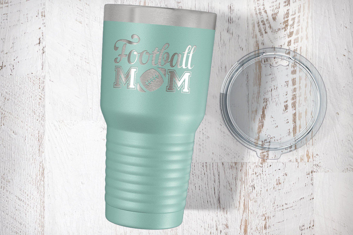 Football Mom Laser Etched Tumbler-Tumblers + Water Bottles-Maddie & Co.