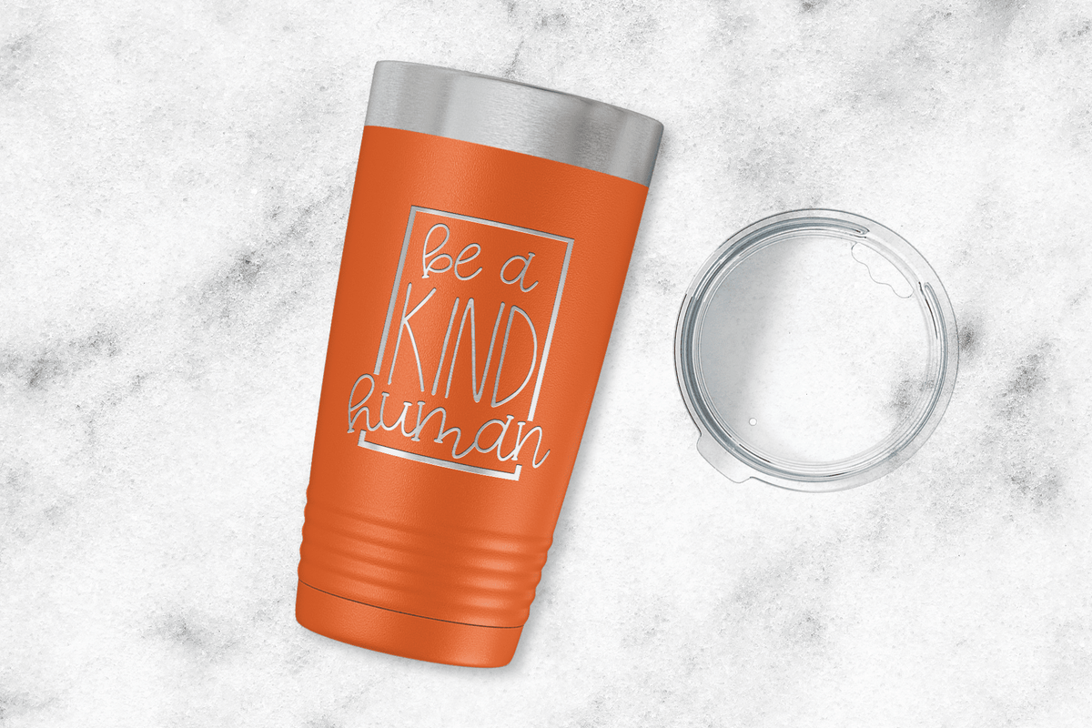 Be A Kind Human Engraved Tumbler-Tumblers + Water Bottles-Maddie & Co.